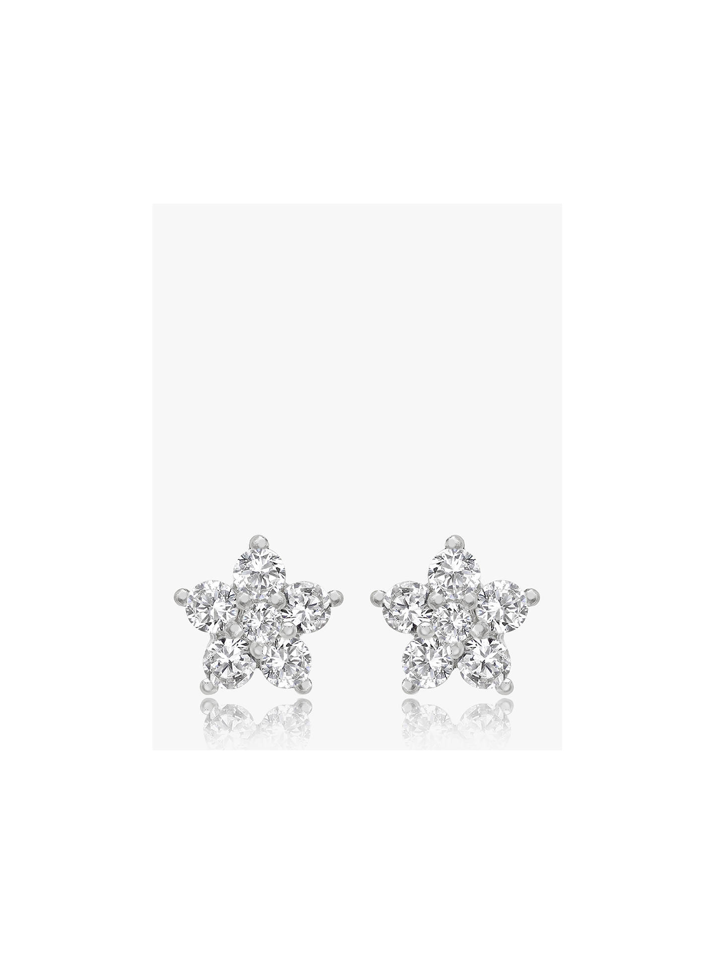 bebd0e8ed Buy IBB 9ct White Gold Cubic Zirconia Cluster Flower Stud Earrings, White  Gold Online at ...