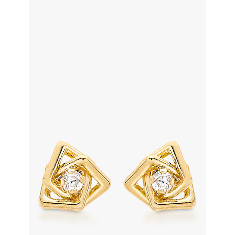 Buy IBB 9ct Yellow Gold Cubic Zirconia Triple Square Stud Earrings, Yellow Gold Online at johnlewis.com