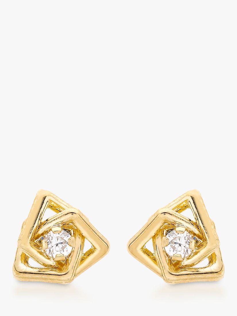 IBB IBB 9ct Yellow Gold Cubic Zirconia Triple Square Stud Earrings, Yellow Gold