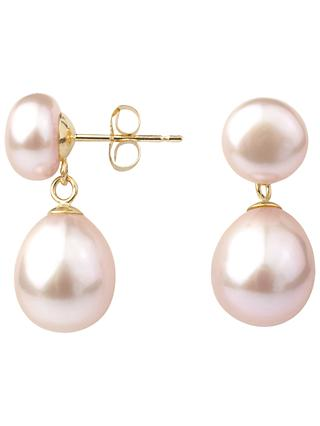 A B Davis 9ct Gold Freshwater Pearl Double Drop Earrings