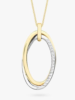 IBB 9ct Two Colour Gold Twined Oval Pendant Necklace, Gold/White Gold