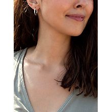 Buy IBB 9ct White Gold Diamond Cut Creole Hoop Earrings, White Gold Online at johnlewis.com