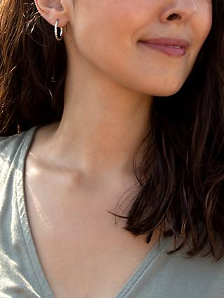 IBB 9ct White Gold Diamond Cut Creole Hoop Earrings, White Gold