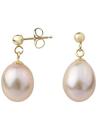 A B Davis 9ct Gold Freshwater Pearl Drop Earrings
