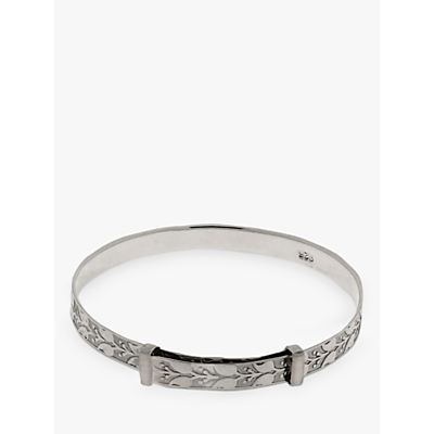 Nina B Sterling Silver Engraved Leaf Pattern Baby Bangle, Silver