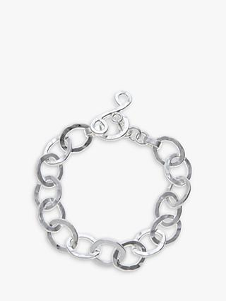 Andea Sterling Silver Oval Textured Bracelet
