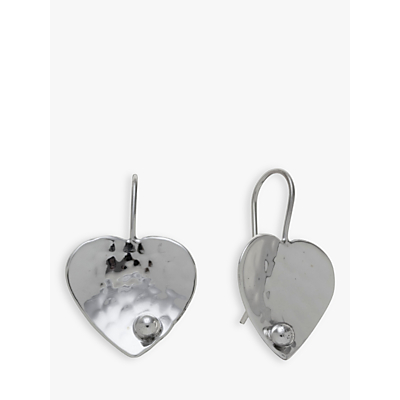 Image of  			   			  			   			  Andea Sterling Silver Textured Heart Drop Earrings, Silver