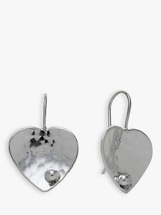 Andea Sterling Silver Textured Heart Drop Earrings, Silver