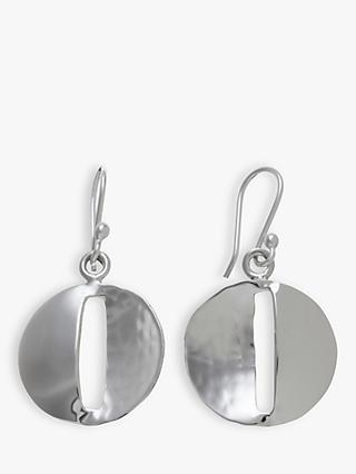 Andea Sterling Silver Round Smooth and Textured Drop Earrings, Silver