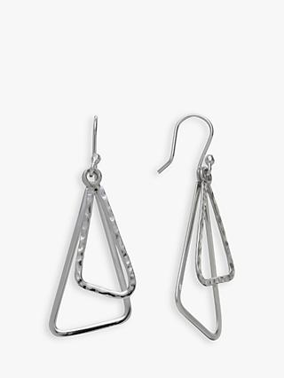 Andea Sterling Silver Double Triangle Drop Earrings
