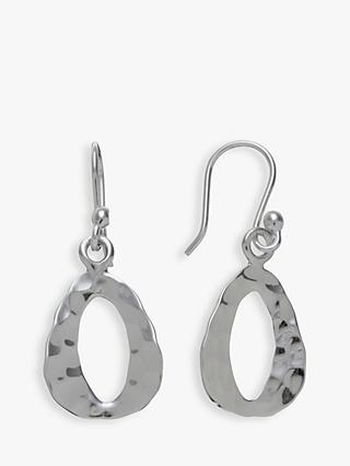 Andea Sterling Silver Textured Triangle Drop Earrings