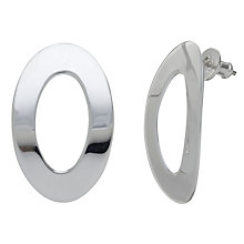 Buy Andea Sterling Silver Outline Oval Stud Earrings, Silver Online at johnlewis.com