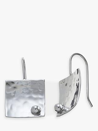 Andea Sterling Silver Textured Square Drop Earrings