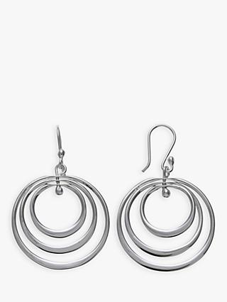 Andea Sterling Silver Spinning Hoop Drop Earrings, Silver