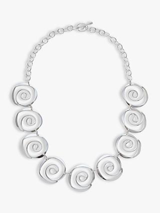 Andea Sterling Silver Sculptured Spirals Necklace