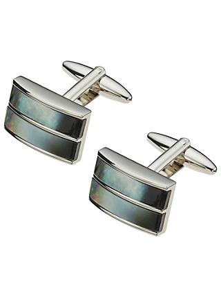 John Lewis & Partners Double Band Mother of Pearl Cufflinks, Mother of Pearl/Silver