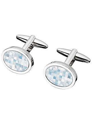 John Lewis & Partners Mother of Pearl Mosaic Cufflinks, Mother of Pearl/Silver