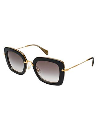 Miu Miu MU07OS Square Gradient Sunglasses, Polished Black