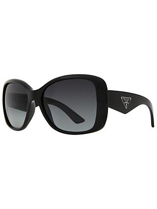 Prada PR32PS Oversized Square Frame Polarised Sunglasses, Black
