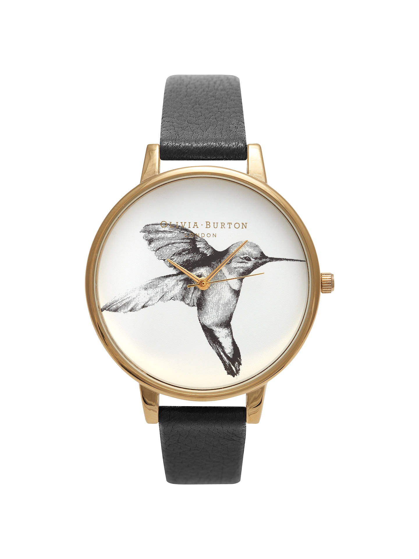 BuyOlivia Burton OB14AM20 Women's Hummingbird Motif Leather Strap Watch, Black / Gold Online at johnlewis.com