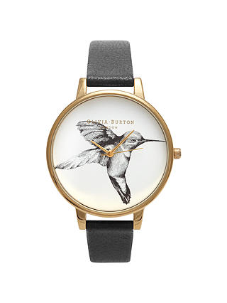 Buy Olivia Burton OB14AM20 Women's Hummingbird Motif Leather Strap Watch, Black / Gold Online at johnlewis.com