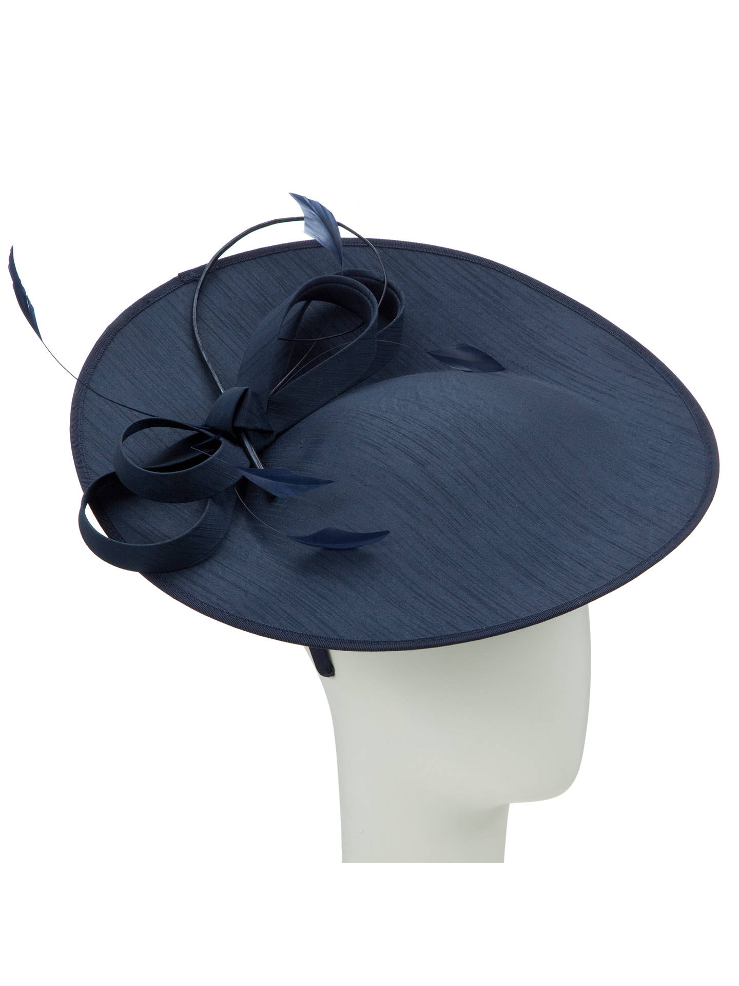 Buy John Lewis Alex Shantung Oval Disc Hat Fascinator, Navy Online at johnlewis.com