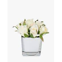 Buy Peony Artificial Roses In Glass Cube, White, Small Online at johnlewis.com