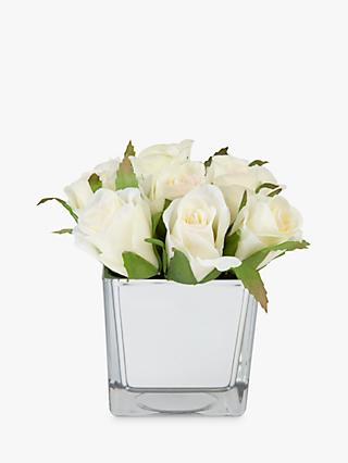 Peony Artificial Roses In Glass Cube, White, Small