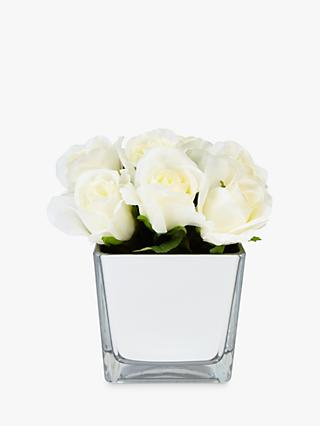 Peony Artificial Roses In Glass Cube, White