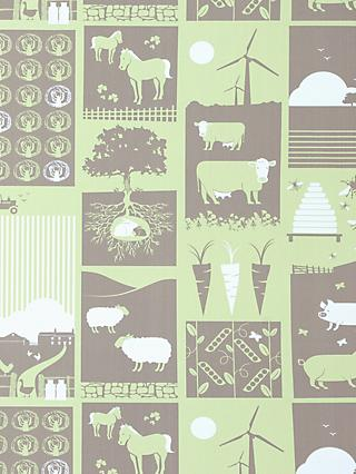 "Mini Moderns ""Moo"" Wallpaper, Pear Green"