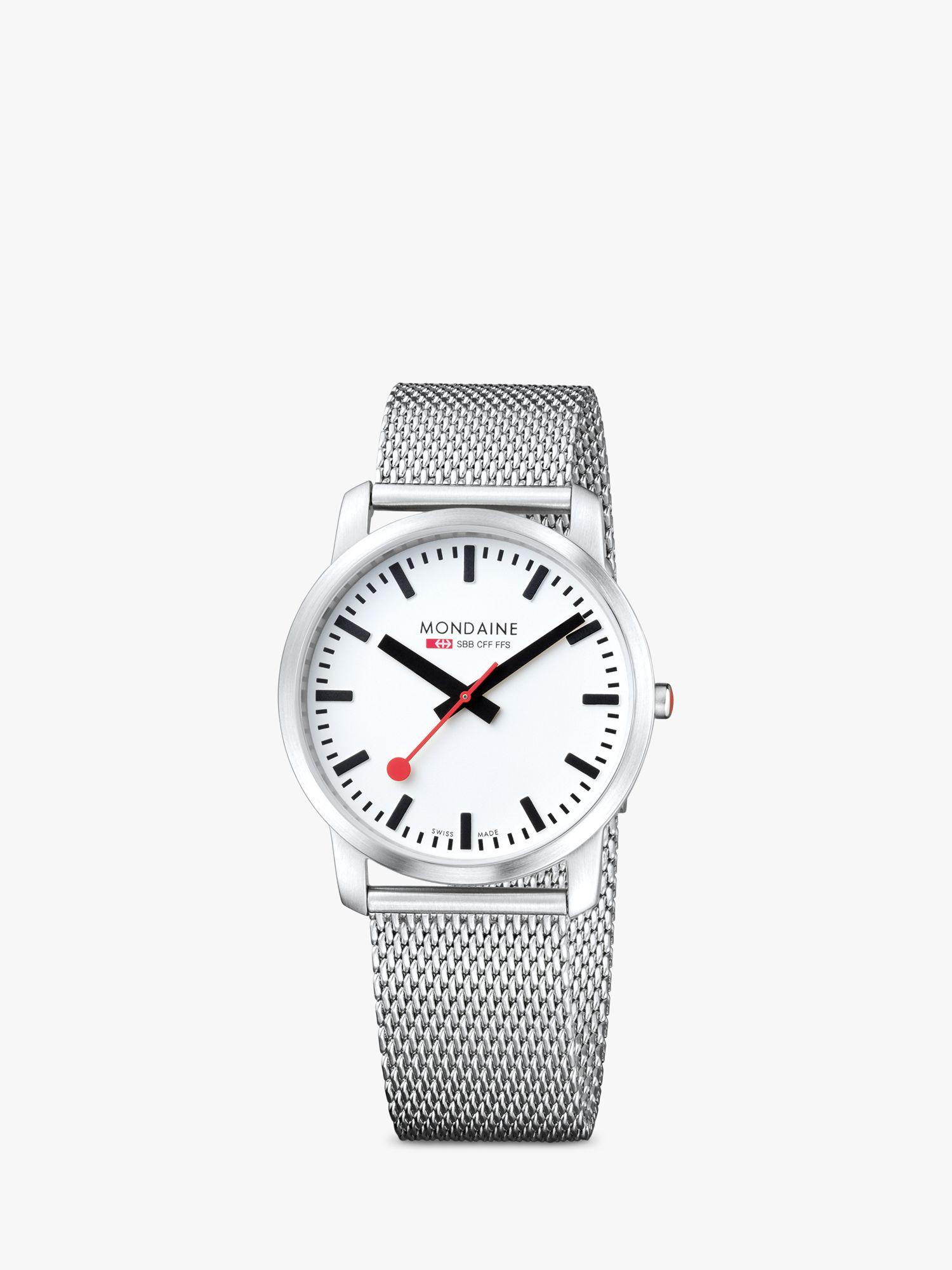Mondaine Mondaine A6383035016SBM Unisex Simply Elegant Mesh Bracelet Strap Watch, Silver/White