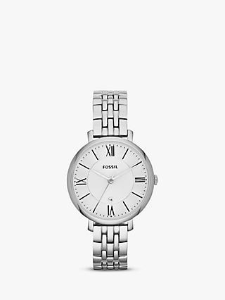 52f9e5a91 Fossil ES3433 Women's Jacqueline Bracelet Strap Watch, Silver/White