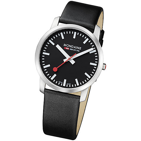 Buy Mondaine Unisex Simply Elegant Leather Strap Watch Online at johnlewis.com