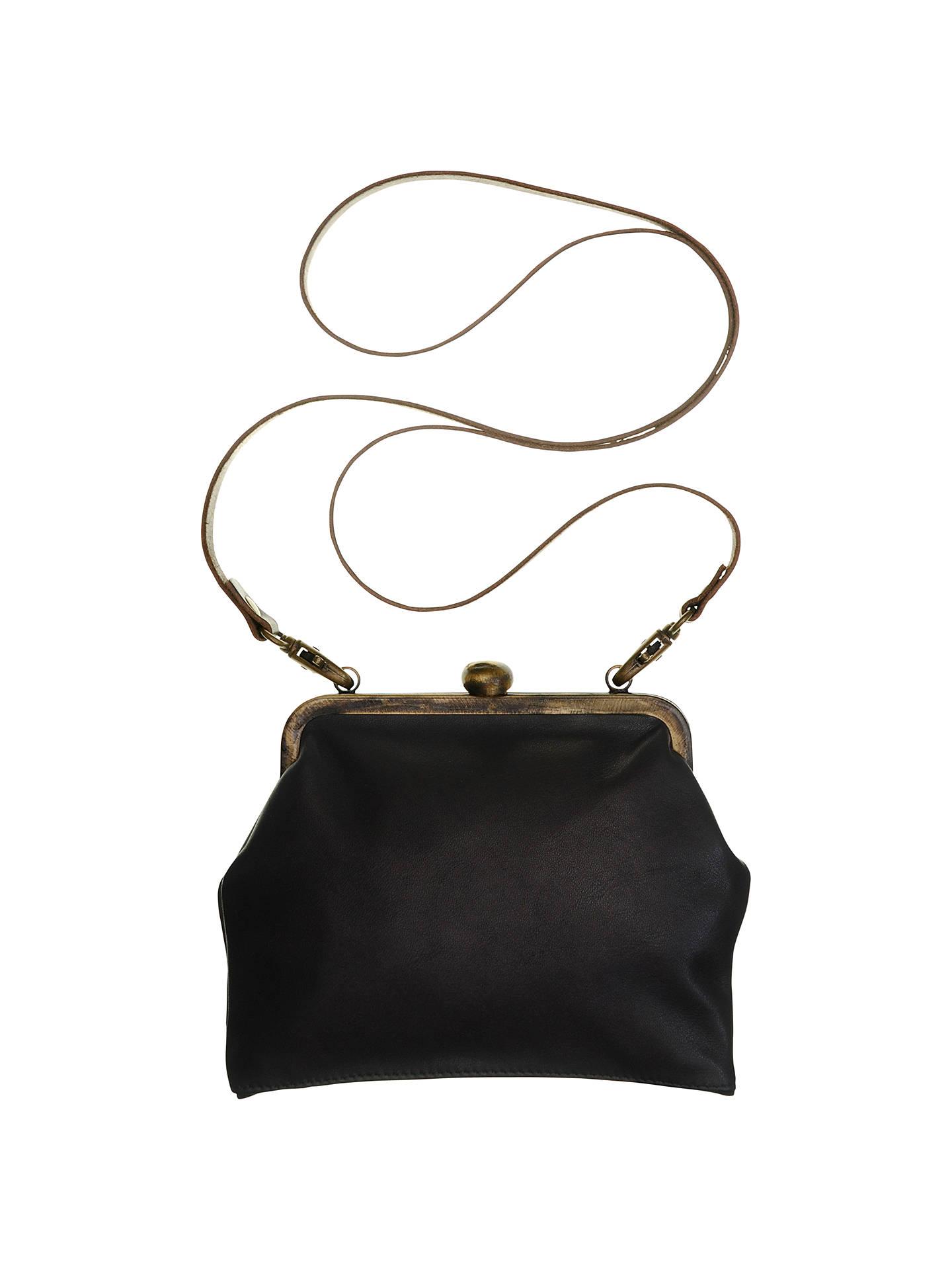 Mimi Berry Gracie Leather Frame Purse, Black at John Lewis & Partners