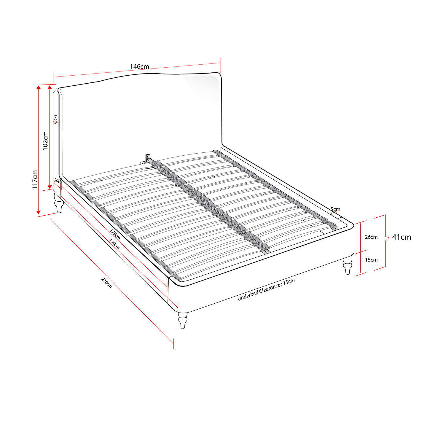 BuyCroft Collection Skye Bed Frame, Double, Grey Online at johnlewis.com