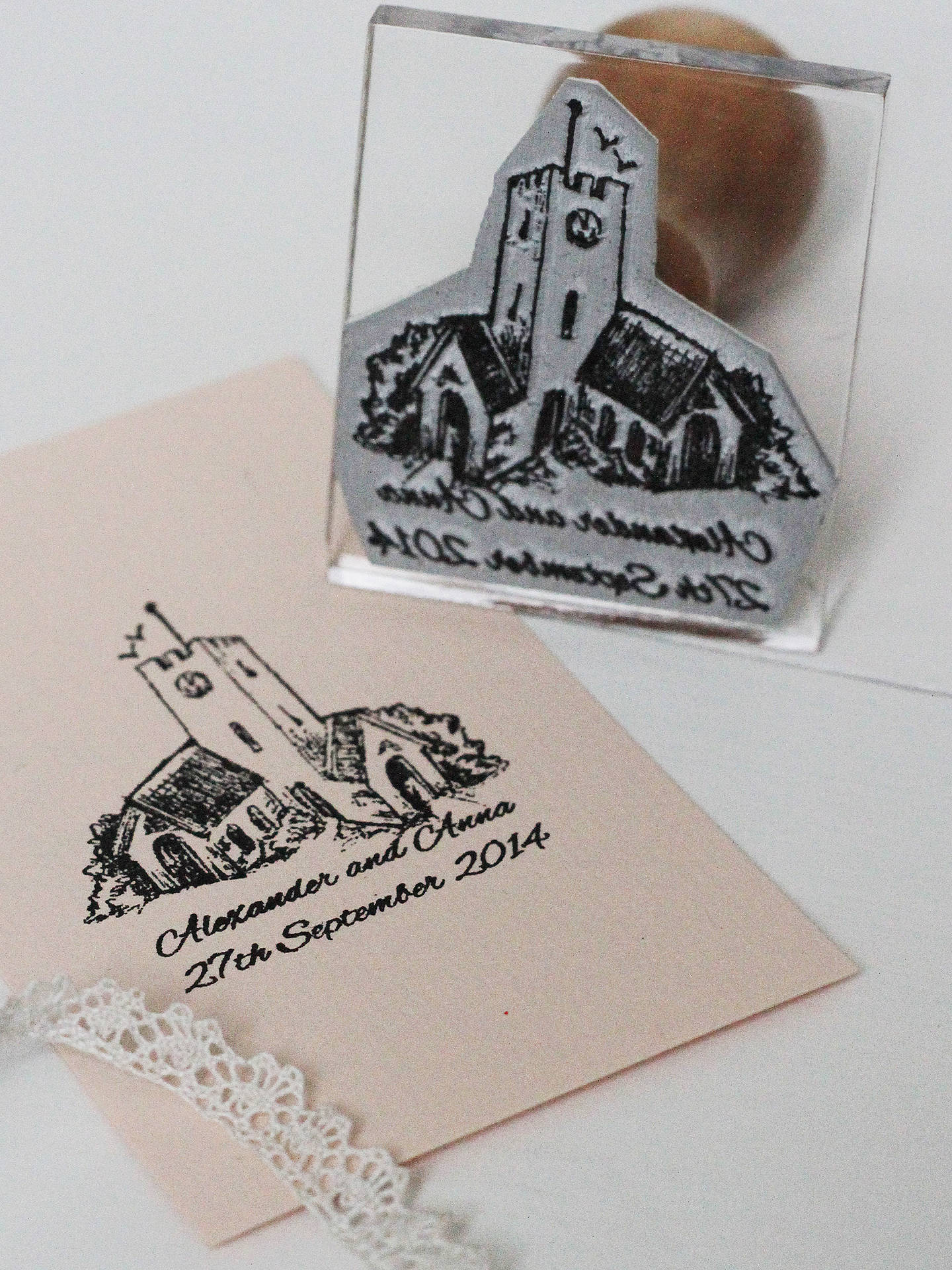BuyStompStamps Personalised Wedding Drawing Stamp Online At Johnlewis