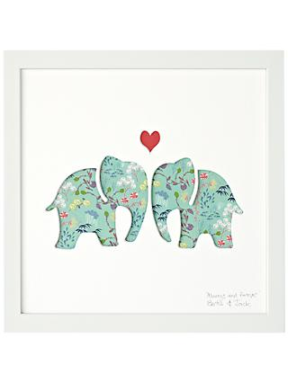 Bertie & Jack 'Always and Forever' Elephants Framed Cut-out, 27.4 x 27.4cm