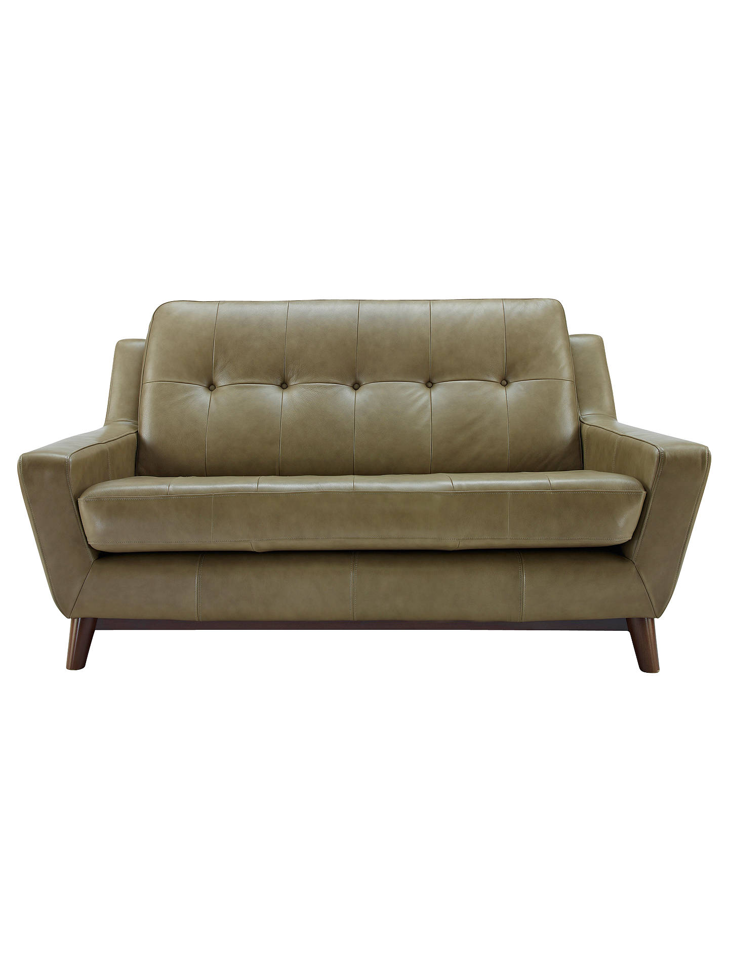 Bon BuyG Plan Vintage The Fifty Three Small Leather Sofa, Olive Green Online At  Johnlewis.