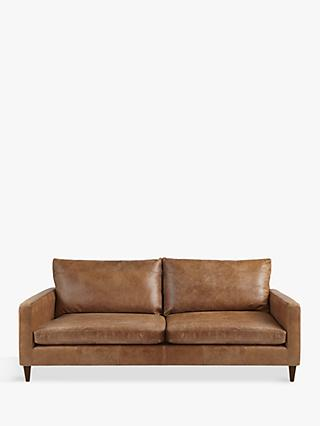 John Lewis & Partners Bailey Large 3 Seater Leather Sofa, Luster Cappuccino