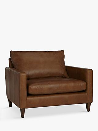 John Lewis & Partners Bailey Semi-Aniline Leather Snuggler, Luster Cappuccino