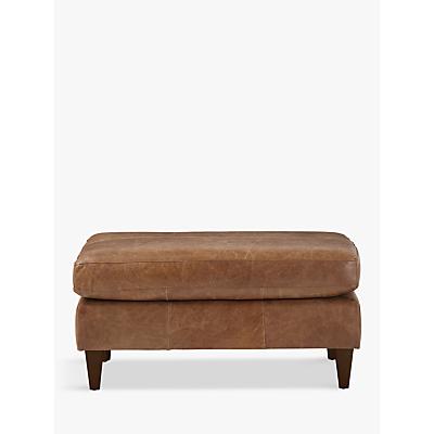 John Lewis Bailey Semi-Aniline Leather Footstool, Lustre Cappuccino