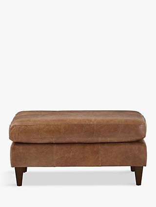 John Lewis & Partners Bailey Leather Footstool, Dark Leg
