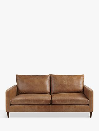 John Lewis & Partners Bailey Medium 2 Seater Leather Sofa, Luster Cappuccino