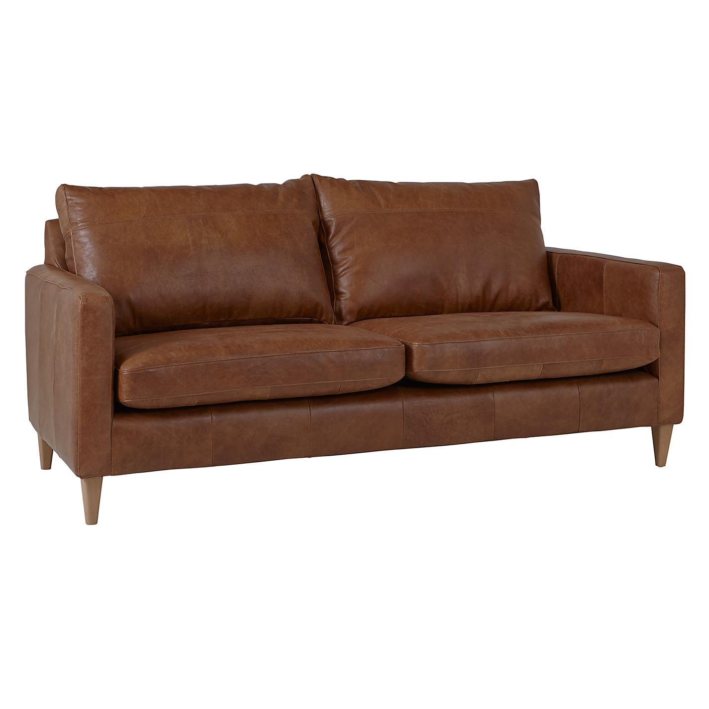 John Lewis Bailey Medium 2 Seater Semi-Aniline Leather Sofa, Lustre  Cappuccino