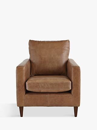 John Lewis & Partners Bailey Leather Armchair, Dark Leg