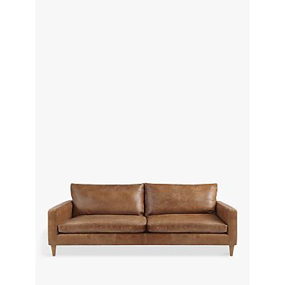 John Lewis Bailey Grand 4 Seater Semi-Aniline Leather Sofa, Lustre Cappuccino