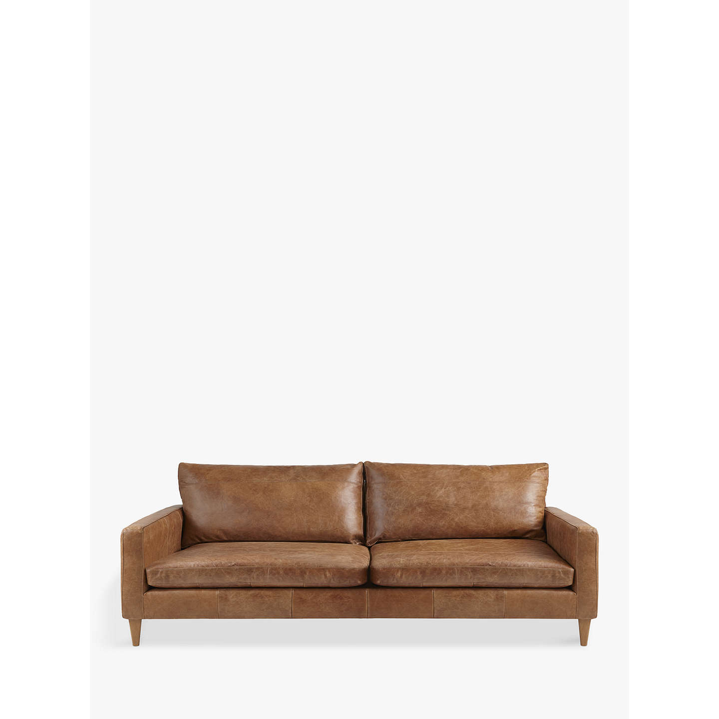 John lewis bailey grand 4 seater semi aniline leather sofa for Leather sofa 7 seater