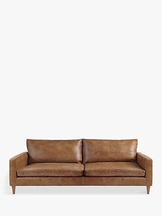 John Lewis & Partners Bailey Grand 4 Seater Leather Sofa, Dark Leg