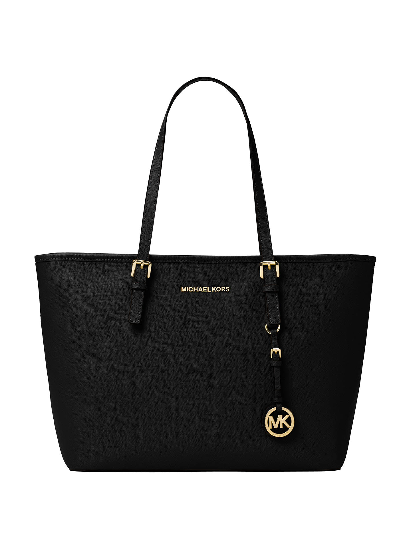 Michael Kors Jet Set Travel Saffiano Leather Tote Bag Black Online At Johnlewis