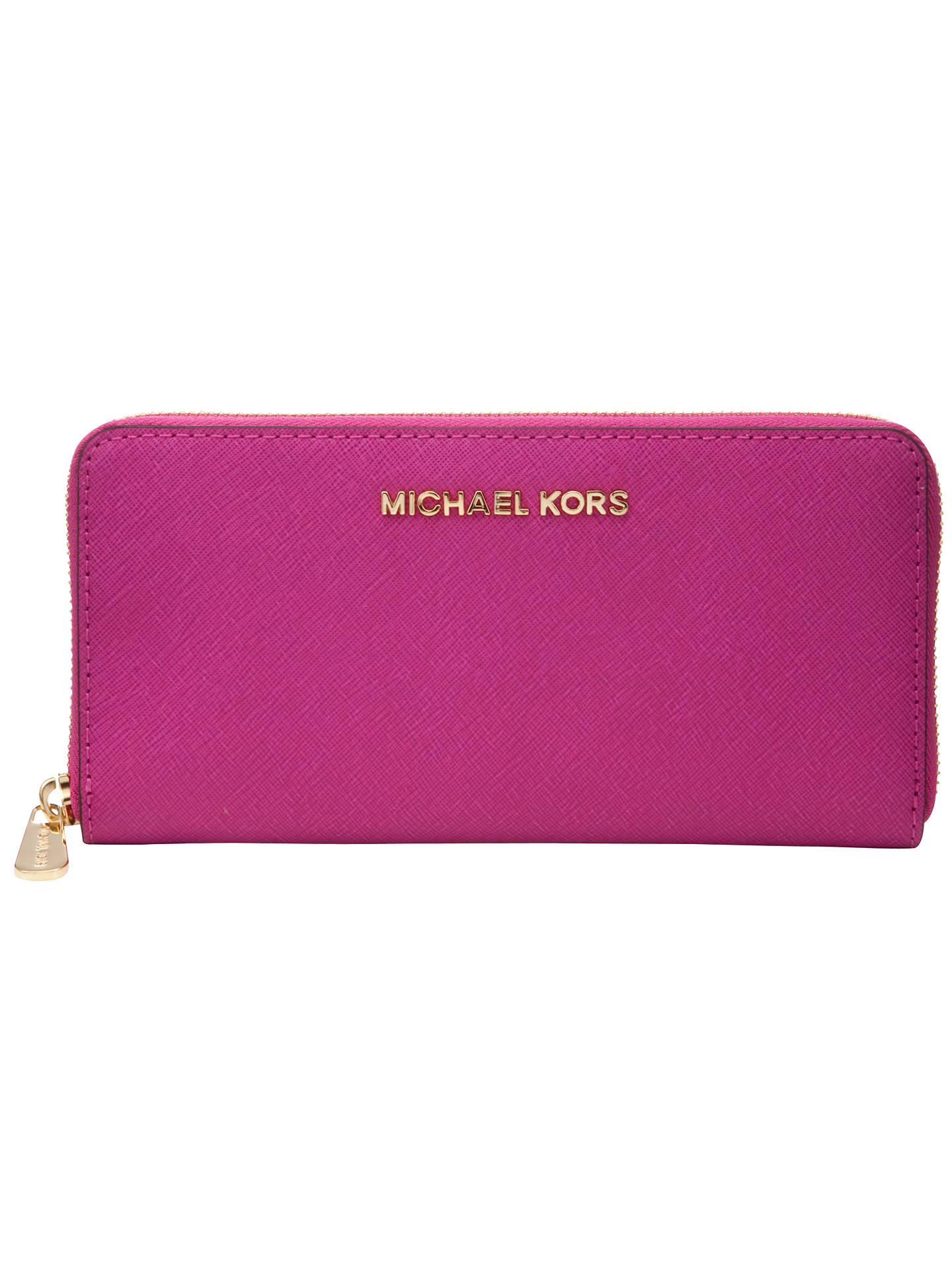 BuyMICHAEL Michael Kors Jet Set Travel Leather Zip Around Continental Purse, Saffiano Pink Online at johnlewis.com